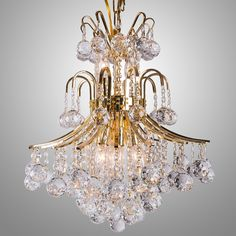 "Contour Design 10-Light 23"" Gold or Chrome Chandelier with European or Swarovski Spectra Crystal Strands SKU# 12010"