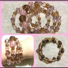 Spotted while shopping on Poshmark: Hand made bracelet pink & brown glass beads! #poshmark #fashion #shopping #style #Jewelry