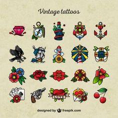 Ícones tatuagem da velha escola Vetor Premium