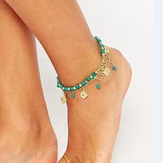 Generous Fashion Gold Crystal Chain Anklet Bracelet Barefoot Sandal Beach Foot Jewelry Reliable Performance Jewelry & Watches Anklets