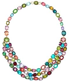 "Marie Helene de Taillac ""First Lady"" necklace made with bright cabochon stones set in unpolished gold, from 2010."