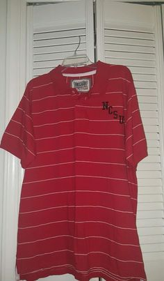Men's J. AMERICA collegiate  Polo Shirt Size Large Red North Carolina State NCSU #JAmerica #NorthCarolinaTarHeels