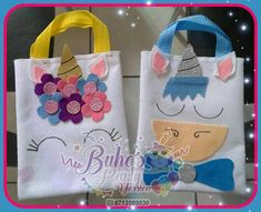 Bolsita fácil Felt Crafts, Crafts To Make, Fabric Crafts, Crafts For Kids, Unicorn Birthday Parties, Unicorn Party, Diy Bebe, Unicorn Crafts, Fabric Bags