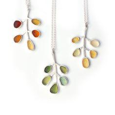Autumn Sea Glass Leaf Pendants by Tania Covo