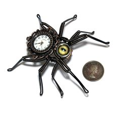 Steampunk Neo Victorian Spider Lapel pin by CatherinetteRings