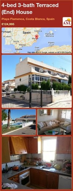 Terraced (End) House for Sale in Playa Flamenca, Costa Blanca, Spain with 4 bedrooms, 3 bathrooms - A Spanish Life Valencia, Portugal, Kitchens And Bedrooms, Family Bathroom, Enjoying The Sun, Private Garden, Ground Floor, Laundry Room, Townhouse