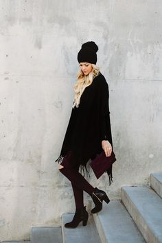 Black Blanket Scarf with maroon accents