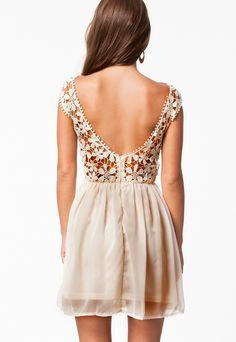 Apricot Sleeveless Lace Floral Crochet Pleated Dress - Sheinside.com