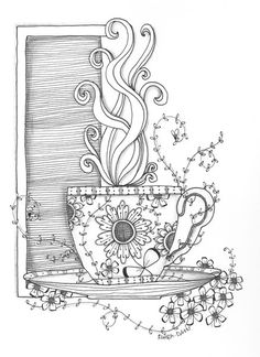 Morning Cup, by Ruth Davis #zentangle ideas visit me at My Personal blog: http://stampingwithbibiana.blogspot.com/