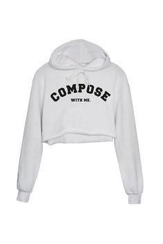 "HOODIE CROPPED WHITE ""COMPOSE WITH ME"""