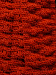 Red scarf.  *Special stitch, no pattern