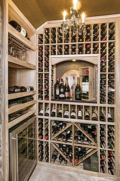 Wine room created from unused space under stairs.