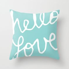 Hello Love Graphic Pillow Cover - Tiffany Blue Aqua Modern Throw Pillow - Typography Home Decor - By Aldari Home by AldariHome on Etsy Aqua Throw Pillows, Modern Throw Pillows, Teen Room Decor, Bedroom Decor, Master Bedroom, Blue Fabric, Baby Shower Gifts, Pillow Covers, Blue And White
