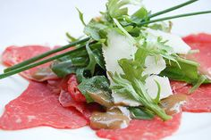 Beef Carpaccio with Parmesan and Dijon Vinaigrette - I've been wanting to attempt this for awhile! Carpaccio Recipe, Roasted Olives, Beef Recipes, Cooking Recipes, Rosemary Recipes, Salad Bar, Beef Dishes, Perfect Food, Food Presentation