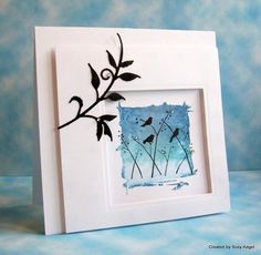 CAS265 Blue Thicket Birds by Boss - Cards and Paper Crafts at Splitcoaststampers