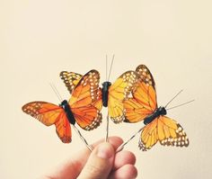 Butterfly hair clip Bobby pin Monarch by whichgoose on Etsy, $10.00