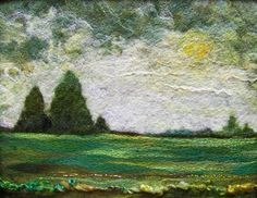 Green Field, 11 x needlefelted wool on felt with art yarn - by Deebs Fiber Arts, Wet Felting, Needle Felting, Bordado Popular, Felt Pictures, Felt Embroidery, Textile Fiber Art, Wool Art, Landscape Quilts, Green Fields