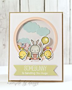 HiBack today to share another card I created over the weekend..With a whole heap of new goodies arriving, I had plenty to play with..When I first saw the Somebunny stamp set from My Favorite Things I knew I just had to have it, it was so darn cute, so when it had arrived I was so ready…