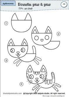 Dessin par étapes : un fichier d'autonomie Kids Art Class, Art For Kids, Splat Le Chat, Kindergarten Art, Arts And Crafts, Doodles, Snoopy, Album, Cartoon