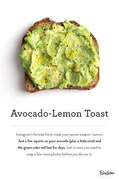 Avocado-Lemon Toast. A super easy way to start your day with a delicious breakfast treat.