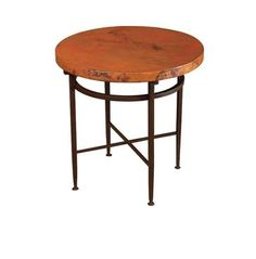 Round Copper Side Table With Variations Of Rich Colors, Shallow Hammered Surface, Rounded Corners And Edge Treatments, On Matte Black Finished Metal Base * No Sharp Or Pointed Edges * * Can Be Customized *