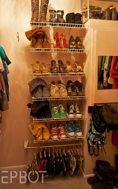 Use Bottom side of wire shelving as shoe racks! Can get home depot/lowes to custom cut to the size you need.