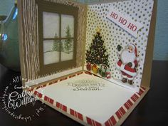 Inking It Up With Cathy: Corner Pop Up Card using Stampin' Up!'s Home for Christmas DSP, Happy Scenes stamp set and Hearth & Home die.  YouTube video on how to make.