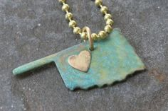 Oklahoma State Necklace with brass heart by DieCutMetalCreations, $32.00