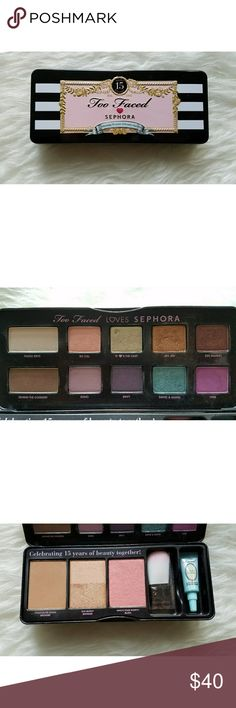 Too Faced x Sephora 15th Anniversary Palette Purging my makeup stash! This is a limited edition palette, used a handful of times. Brush and primer were never opened/used.  Smoke-free, pet-free home. Too Faced Makeup