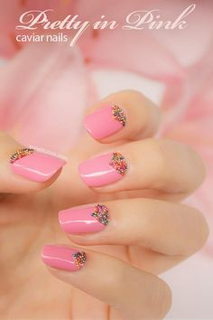 pink nails with a little sparkle