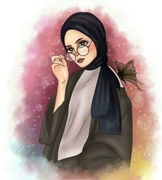 Don't judge a book by it's cover Girly M, Cartoon Kunst, Cartoon Art, Cute Girl Wallpaper, Cartoon Wallpaper, Sarra Art, Hijab Drawing, Islamic Cartoon, Anime Muslim