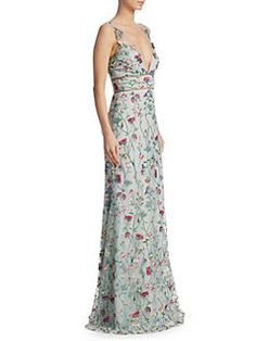 Marchesa Notte Embroidered Floral Metallic Trim Gown In Light Blue Colored Wedding Gowns, Dream Wedding Dresses, Stylish Dresses, Nice Dresses, Long Dresses, Marchesa Notte Dress, Floor Length Gown, Gala Dresses, Formal Gowns