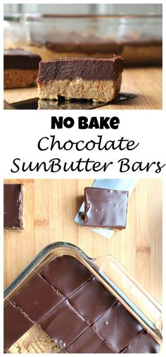 ALLERGY FRIENDLY! Chocolate SunButter No Bake Bars - I saw these awesome looking bars on FB and I knew I had to make them nut free for my daughter who has a peanut/tree nut allergy. With the spring (Butter Brownies Dairy Free)