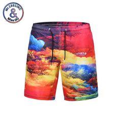89fa601735 Newest colorful 3d printing men's beach shorts quick dry big code loose  short pants colorfullcloud print