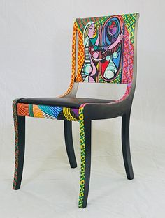 Rocking Chair Makeover, Chair Redo, Diy Chair, Funky Chairs, Colorful Chairs, Vintage Chairs, Painted Kids Chairs, Whimsical Painted Furniture, Art Nouveau Furniture
