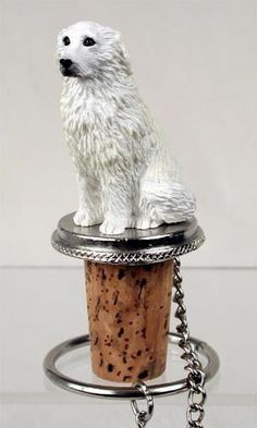 Shop for Kuvasz sitting on top of a unique, decorative, wine cork bottle stopper. Fits a standard size wine or champagne bottle. Great gift ideas for owners of dogs. Wine Bottle Corks, Wine Bottle Stoppers, Cork Stoppers, Miniature American Eskimo, American Eskimo Dog, Gifts For Wine Lovers, Great Pyrenees, Tear, White Dogs