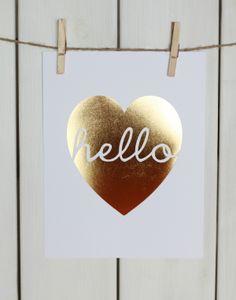 Gold Foil Hello Heart ssprintshop.com