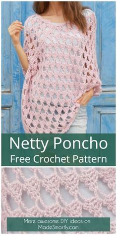 Netty Poncho - Free Crochet Pattern #freecrochetpatterns #crochet #ponchos #style #diy #yarns #summeroutfit