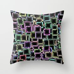 Boxey Throw Pillow - $20.00  #cushion #pillow #homedecor #dorm #squares #pattern #abstract #pink #teal #green #purple
