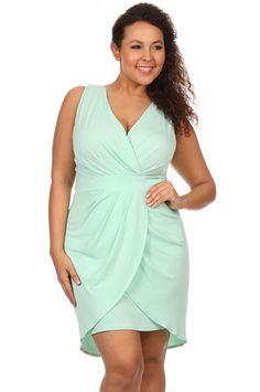 Plus Size Surplice Bodycon Dress in Mint, , BODYCON, vendor-unknown, Elohai Plus Size Boutique - 1