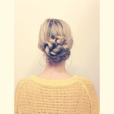 Start with pig tails, braid them, twist and bobby pin them. Done :)