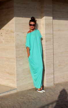 Mint Maxi caftan dress Plus size Maxi by cherryblossomsdress, $79.00