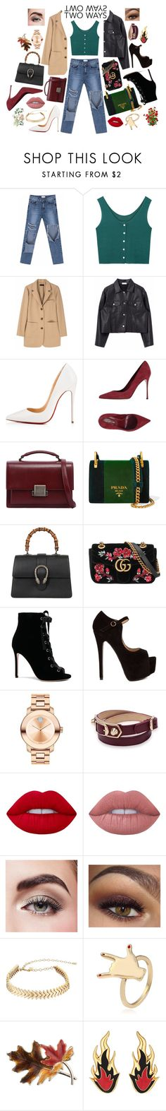"""""""Two Ways"""" by mixxmix ❤ liked on Polyvore featuring Christian Louboutin, Sergio Rossi, Yves Saint Laurent, Prada, Gucci, Gianvito Rossi, Movado, Balenciaga, Lime Crime and Avon"""