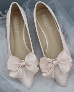 BLUSH Satin Pointy Toe Flats with Oversized Bow #weddingshoes
