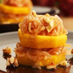 Squash Rounds with  Shallot-Cider Sauce. Wow, that sounds yummy.