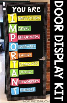 Decorate your classroom door with an inspirational message. All of the pieces are easy to cut and the display fits perfectly on a classroom door or you can use it on a bulletin board! Perfect for back to school or anytime throughout the school year. Classroom Door Displays, School Displays, Classroom Bulletin Boards, Classroom Rules, New Classroom, Preschool Classroom, Classroom Organization, Bulletin Board Ideas For Teachers, Counseling Bulletin Boards