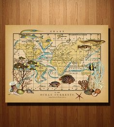 Ocean Currents Map Print | Add the beauty of the sea to your world with this ocean-themed... | Posters