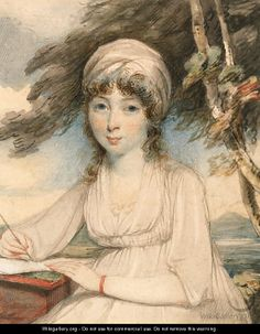 Portrait of a young lady, three-quarter-length in a white turban, wearing a white dress holding a pen in her right hand, seated in a wooded landscape, about 1800-1810