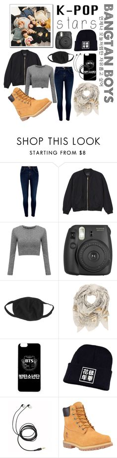 """Kpop is love, BTS is life"" by jamlessarmy ❤ liked on Polyvore featuring River Island, Monki, Fujifilm, Sophie Darling, Timberland and kpop"