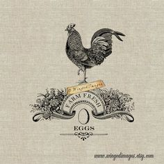 Farm Fresh Eggs. Instant Download Digital Image No.384 Iron-On Transfer to Fabric (burlap, linen) Pa Iron On Transfer, Transfer Paper, Download Digital, Galo, Original Gifts, Leather Gifts, Digital Image, Line Art, Illustration